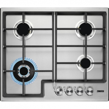 Zanussi ZGH66424XX Gas Hob with Cast Iron pan supports - Stainless Steel